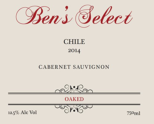 "2014 Ben Ish Winery ""Ben'S Select"" Chilean Cabernet Sauvignon With Personalized Label 750 Ml"