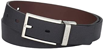 大牌Kenneth Cole 男士黑色商务皮带Textured Engraved Logo Belt $11.99