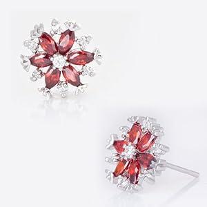 Pugster Jul Birthstone Light Red Crystal Diamond Accent Flower Floral Stud Earrings