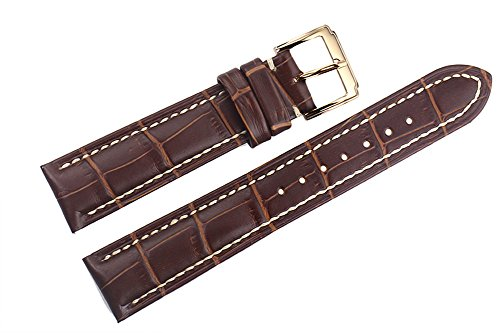 20 mm marrone di lusso cinturini sostituzione pelle italiana / fasce handmade cuciture bianche per orologi di alta gamma
