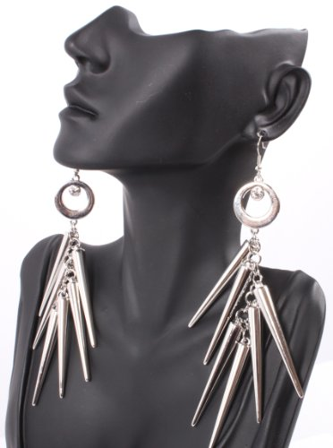 Silver Lady Gaga Poparazzi Circle Earrings with Spikes Light Weight Basketball Wives