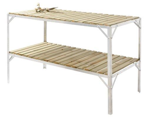 Aluminium  &  Wooden Slat Greenhouse Staging - 2 Tiers