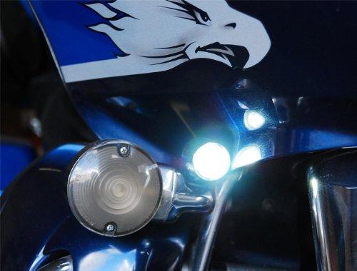 Chrome Cree Lights Motorcycle Led Fog Running Cruiser Chopper Headlight 6000K Mx
