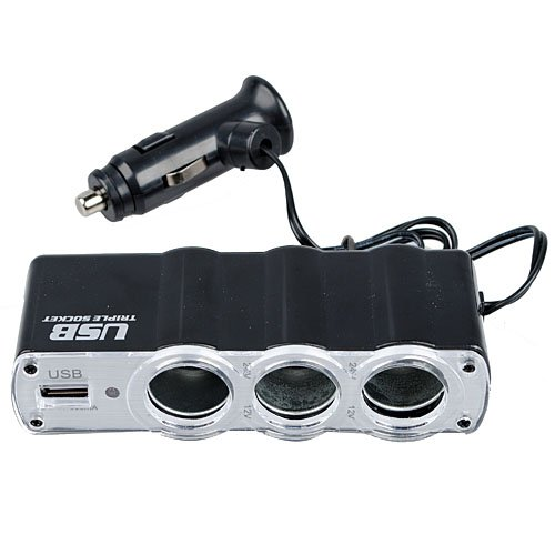 3 WAY MULTI SOCKET CAR CIGARETTE LIGHTER SPLITTER USB PLUG C