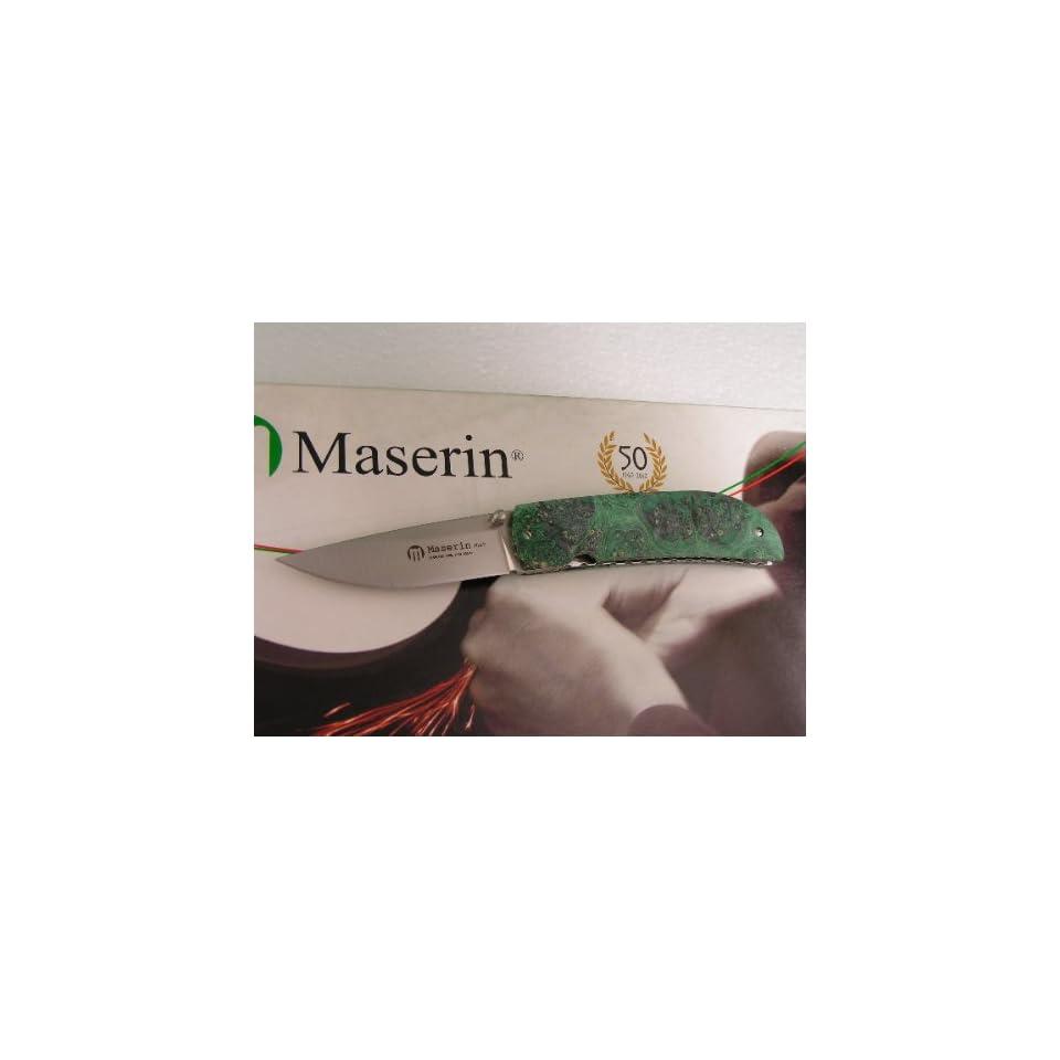 Maserin Knife Atti Linerlock 389 RV ACTIONS Green Burl Wood