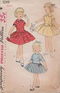 Vintage Childs Girl One-Piece Dress With Detachable Collar And Cuffs Simplicity Printed Pattern 1249 (Size 6)