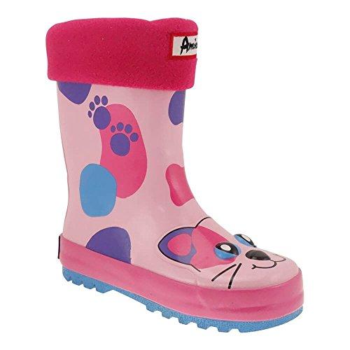 Gallux Regenstiefel - Stivali di gomma Bambina , Rosa (Gatto), 25
