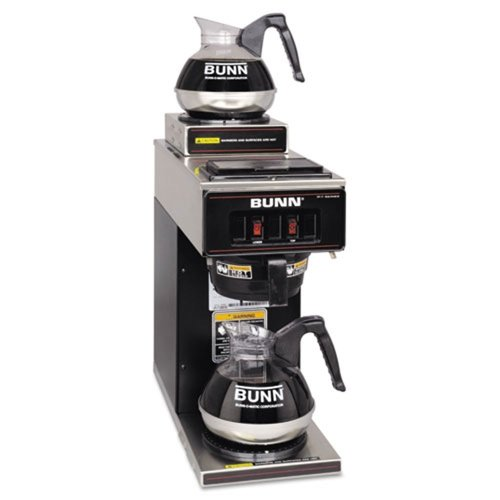 Bunn - 12-Cup Two-Station Commercial Pour-O-Matic Coffee Brewer Stainless Steel Black