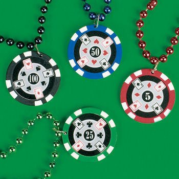 Beaded Poker Chip Necklace 1ct