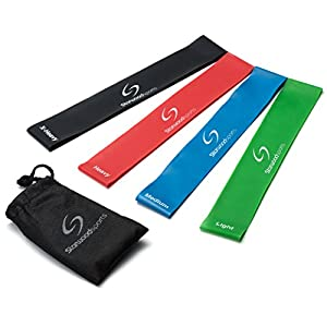 #1 Best Resistance Loop Bands - Exercise Bands Set of 4 - Great for Improving Mobility, Strength, Yoga, Pilates or Injury Rehabilitation - Suitable for Women and Men - Lifetime Guarantee