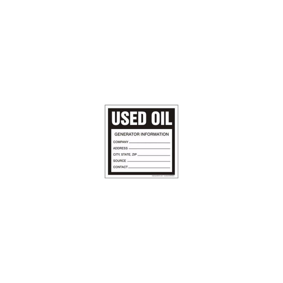 Hazardous Waste Labels USED OIL GENERATOR INFORMATION  6 x 6 (QTY/100)