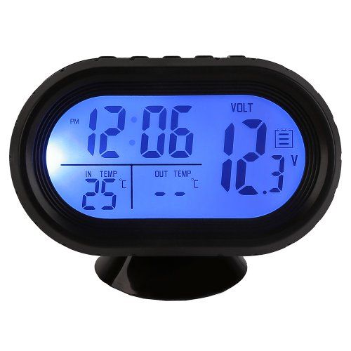 New multi-function Digital 12v Car Voltage Alarm Temperature Thermometer Clock LCD Monitor Battery Meter Detector Display Led
