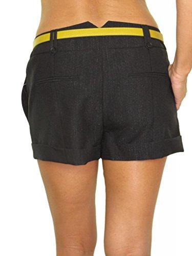 1450-Mini-Short-Noir-Brillant-Lavable-avec-Ceinture-pour-Femmes