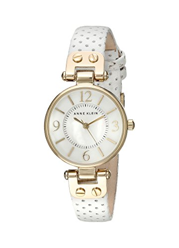 Anne Klein Women's 10-9888MPWT White Calf Skin Quartz Watch with Mother-Of-Pearl Dial