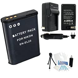 EN-EL23 High-Capacity Replacement Battery with Rapid Travel Charger for Select Nikon Digital Cameras. UltraPro Bundle Includes: Camera Cleaning Kit, Screen Protector, Mini Travel Tripod