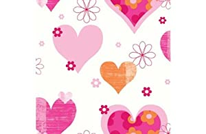 Happy Hearts Wallpaper - Pink and Orange from manufacturer
