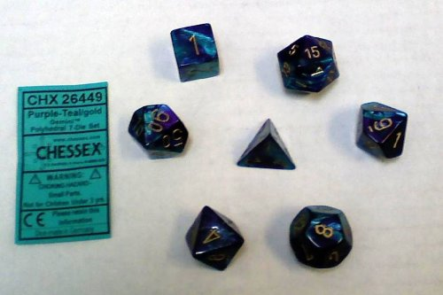 Fantastic Deal! Chessex Polyhedral 7-Die Gemini Dice Set: Purple & Teal with Gold (d4, d6, d8, d10, ...