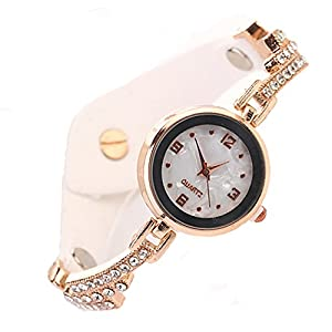Fashion Women's Golden Case Multi-layer Glaring Crystal Metal Velvet Band Bracelet Wrist Watch (White)