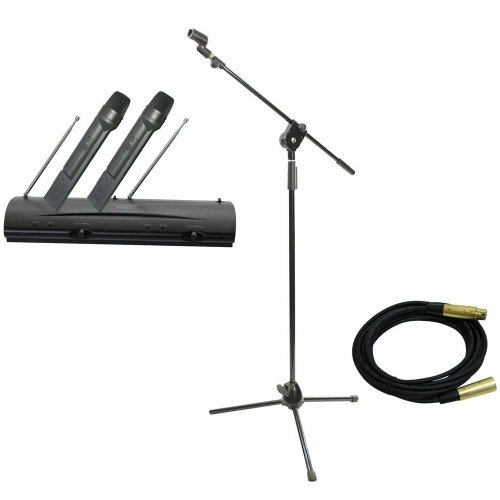 Pyle Mic And Stand Package - Pdwm2100 Professional Dual Vhf Wireless Handheld Microphone System - Pmks3 Tripod Microphone Stand W/ Extending Boom - Ppmcl15 15Ft. Symmetric Microphone Cable Xlr Female To Xlr Male