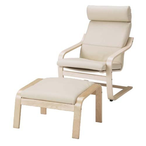 White salon chairs - Poang Ikea Chair And Footstool Nazarm Com