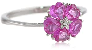 10k White Gold Created Pink Sapphire and Diamond-Accent Flower Ring, Size 7