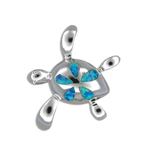 Sterling Silver Hawaiian turtle Plumeria Blue Opal Pendant