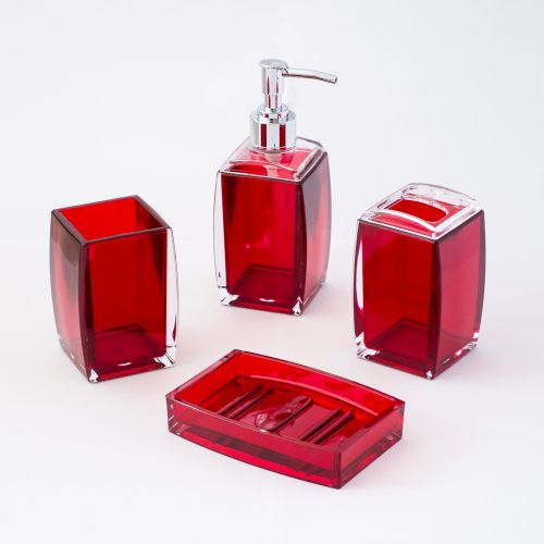 Justnile 4 piece bathroom accessory set contemporary for Red bathroom accessories