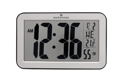 MARATHON CL030033-SV Atomic Panoramic Wall Clock with Indoor Temperature & Date in Brushed Silver - Batteries Included