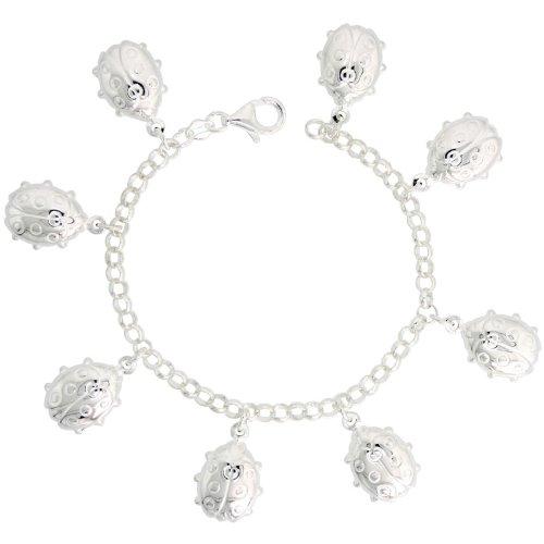 Sterling Silver Lady Bug Charm Bracelet, 7/8