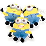 """9"""" Despicable Me'' 3D Deluxe Plush Stuffed Doll Soft Toy Figure Minion Dave/Jorge/Stewart collectible Set of 3"""