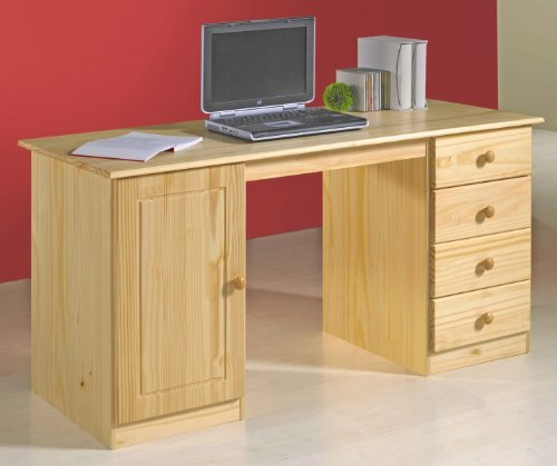 computertische g nstig kaufen schreibtisch manager kiefer massiv natur lackiert nordische. Black Bedroom Furniture Sets. Home Design Ideas