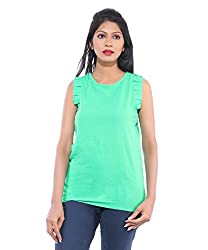 Avakasa Polyester Green Solids Partywear Sleeveless Sleeves Top (top-10-green)