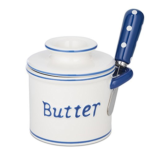 The Original Butter Bell Crock and Spreader by L. Tremain, Parisian Polka Dot Collection, Blue/White