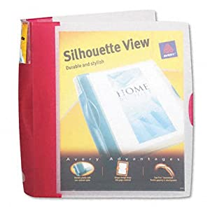 Silhouette View Binder with Gap Free Round Rings, 1-1/2'' Capacity, Red