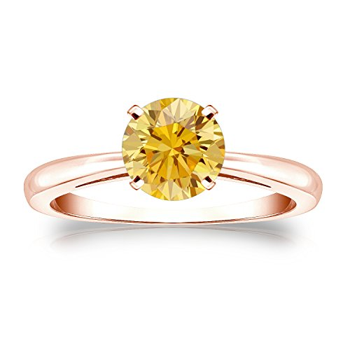 14K Rose Gold Round-Cut Yellow Diamond Solitaire Ring (1/3 Cttw, Yellow Color, Si1-Si2 Clarity)