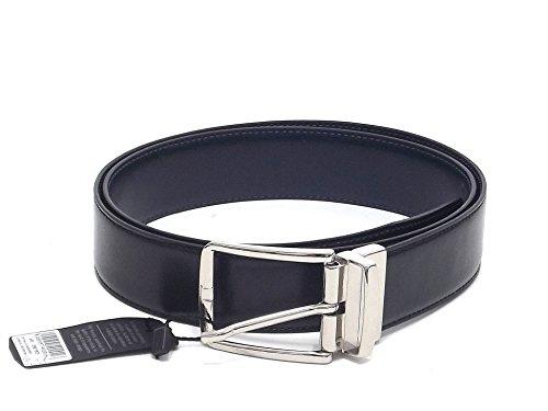 Cintura classica uomo, 209016-03, cintura double face in pelle, colore lati nero/blu