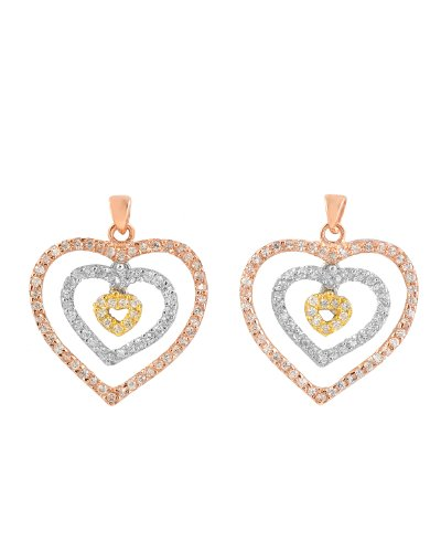 C.Z. Diamond Rose, Yellow, And White Gold Plated Nested Open Heart Earring