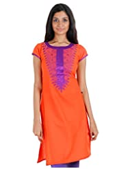 ESTYLe Bright Orange Embroidered Kurta With Silk Cotton Piping
