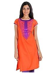 ESTYLe Bright Orange Embroidered Kurta With Silk Cotton Piping