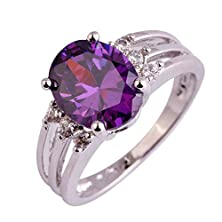 buy Psiroy 925 Sterling Silver Stunning Created Gorgeous Women'S 10Mm*8Mm Oval Cut White Amethyst Cz Filled Ring