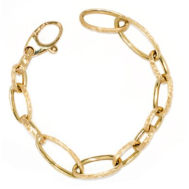 18k Yellow Small Large Textured Links Lace Bracelet - 8 Inch - JewelryWeb