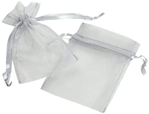 Koyal Wholesale 10-Pack Organza Favor Bags, 3-Inch by 4-Inch, Silver Gray