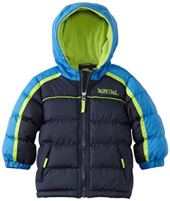 Pacific Trail   Kids Baby Boys' Puffer Jacket With Piping, Navy, 12 Months