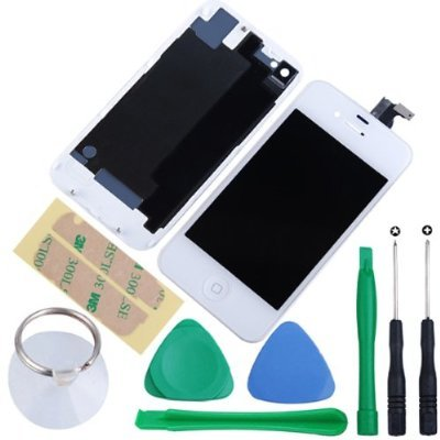 Ulike Replacement Full Set Front Lcd Display & Touch Screen Digitizer Assembly With Home Button + Back Cover Housing + 8Pcs Repair Opening Tools Kit Compatible For At&T Iphone 4S Gsm - White