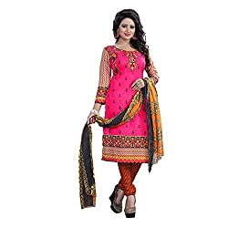 Shree Hari Creation Women's Poly Cotton Unstitched Dress Material (243_Red_Free Size)