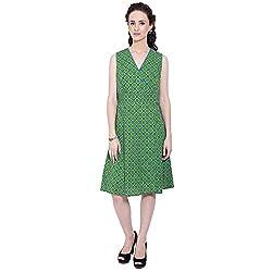 TUNTUK Women's Alena Dress Green Cotton Dress