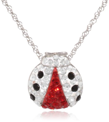 Sterling Silver Red and Black and Clear Crystal Ladybug Pendant Necklace, 18