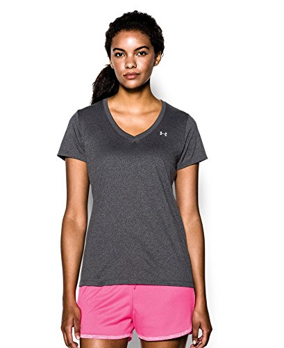 Under Armour Women's Tech V-Neck, Carbon Heather (090), X-Small