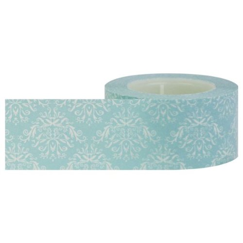 Little B 100013 Decorative Paper Tape, Blue and White Damask