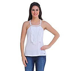 Meish White Solid Top for Women